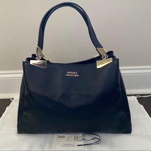 Versace Collection Large Pebble Leather Tote